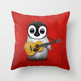 Musical Baby Penguin Playing Acoustic Guitar on Deep Red Throw Pillow