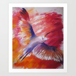 flying in the fire Art Print