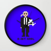 karl lagerfeld Wall Clocks featuring 8 Bit Karl by 8 Bit Icons