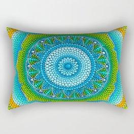Green-yellow mandala painting on canvas Rectangular Pillow