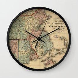 Vintage Massachusetts Railroad Map (1879) Wall Clock