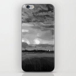 hurricane storm landscape digital oil painting akvop bw iPhone Skin