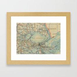 Vintage Map of Lake Pontchartrain (1896) Framed Art Print