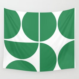 Mid Century Modern Green Square Wall Tapestry