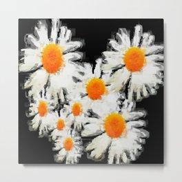 high contrast daisies pastel drawing Metal Print