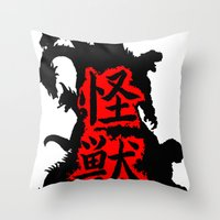 kaiju Throw Pillows featuring Kaiju Japan by PCRK