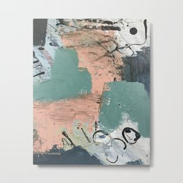 13th and Grant: an abstract mixed media piece in peach green blue and white Metal Print
