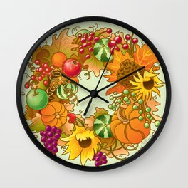 Fall Wreath Wall Clock