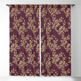 Elegant burgundy faux gold glitter berries floral Blackout Curtain