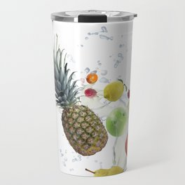 Fresh fruits and berries  with water splash Travel Mug