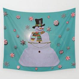 Blue Haze Snowman Ornaments Wall Tapestry