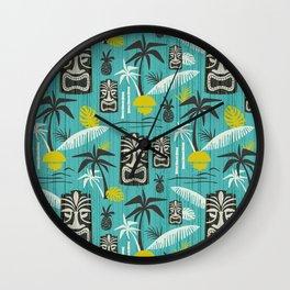 Island Tiki Aqua Wall Clock