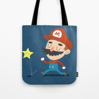 mario Tote Bags featuring Mario by Rod Perich