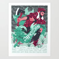 capricorn Art Prints featuring Capricorn by Greg Wright