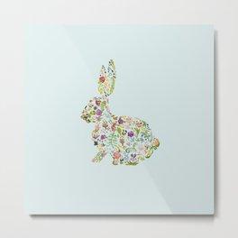 Spring Flowers Bunny on Blue Metal Print