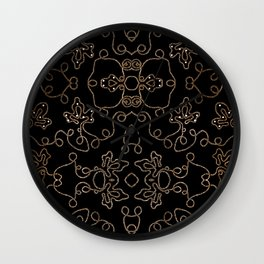 Elegant gold embellishments on black Wall Clock