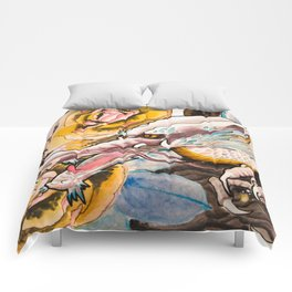 Water Color Dragon and Peonies Comforters