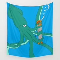 diver Wall Tapestries featuring squidly diver by Patrick.the.human
