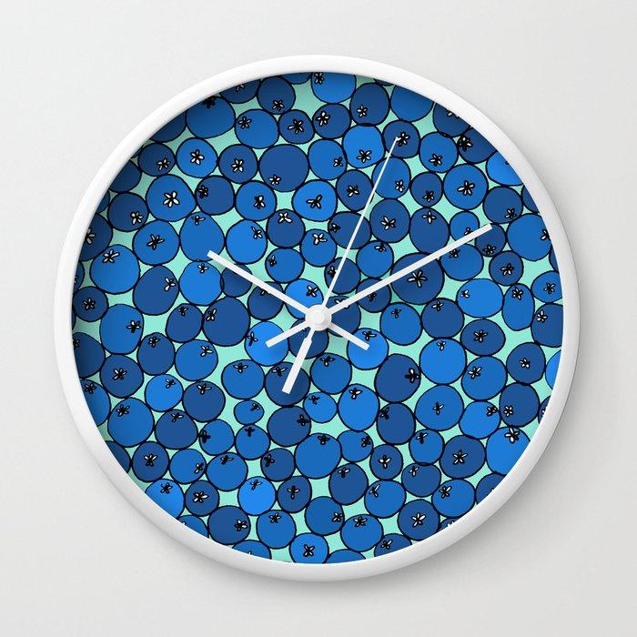 Summer Blueberries Wall Clock