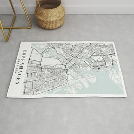 Copenhagen Denmark Blue Water Street Map Rug