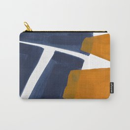 Colorful Minimalist Mid Century Modern Shapes Navy Blue Yellow Ochre Sharp Shapes Carry-All Pouch