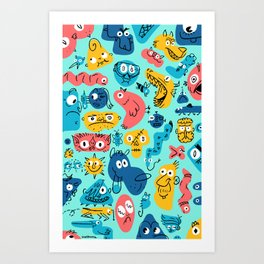 Colorful Character Shapes Art Print