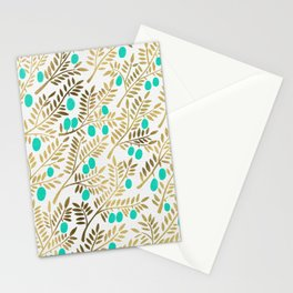 Gold & Turquoise Olive Branches Stationery Cards