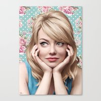 emma stone Canvas Prints featuring EMMA STONE by FISHNONES