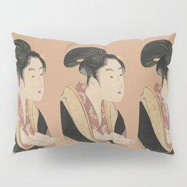 Vintage Japanese Ukiyo-e Woodblock Print Woman Portrait II Pillow Sham
