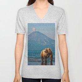 The bear under the volcano Unisex V-Neck