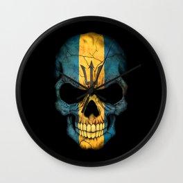 Dark Skull with Flag of Barbados Wall Clock
