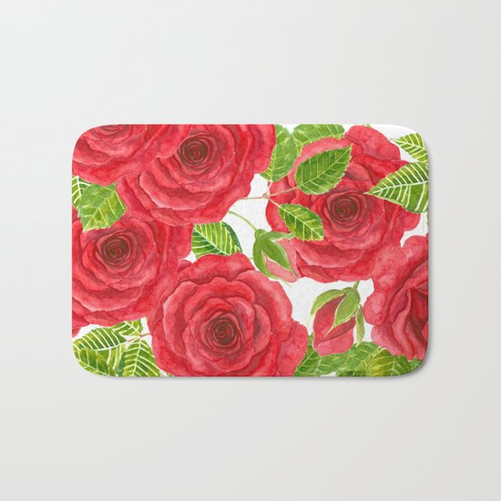 Red watercolor roses with leaves and buds pattern Bath Mat