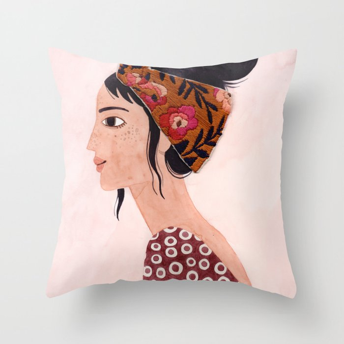 Embroidered scarf Throw Pillow
