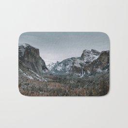 Snow at Yosemite's Tunnel View Bath Mat