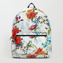 floral pattern. Poppy, wild blossom, rose, nightingale birds with leaves on flower background with h Backpack