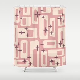 Retro Mid Century Modern Abstract Pattern 576 Dusty Rose Shower Curtain