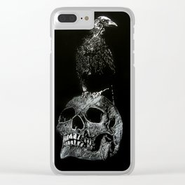 Raven and Skull Clear iPhone Case