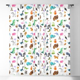 Cute Wild Animals Watercolor Pattern Blackout Curtain