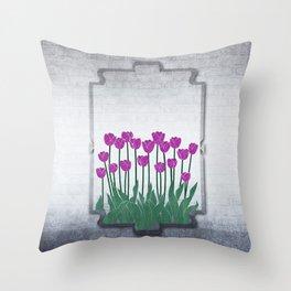 Magenta Tulips Throw Pillow