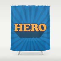 hero Shower Curtains featuring Hero by Word Quirk