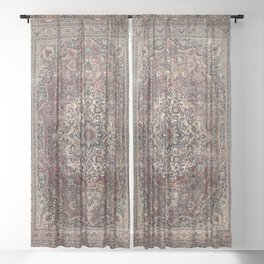 Antique Persia Doroksh Old Century Authentic Dusty Dull Blue Gray Green Vintage Rug Pattern Sheer Curtain