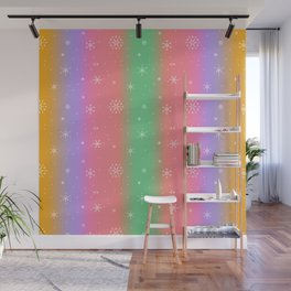 Pastel Rainbow with Snowflakes Wall Mural