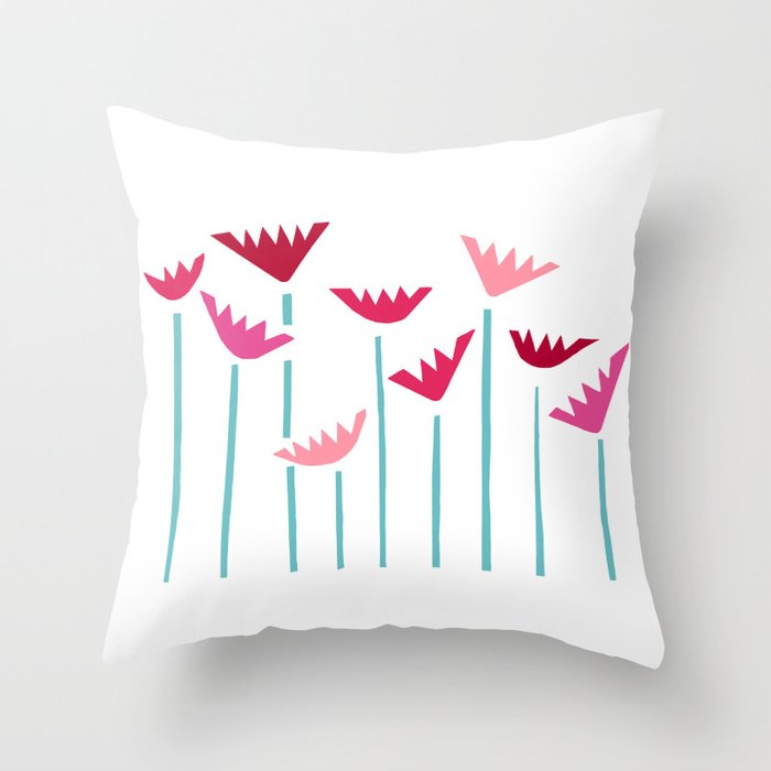 Teal and Pink Tropical Plants Collage Throw Pillow