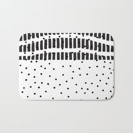 Modern black white  watercolor brushstrokes polka dots Bath Mat
