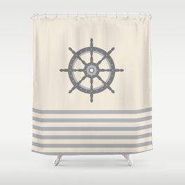 AFE Gray Helm Wheel Shower Curtain