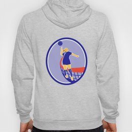 Volleyball Player Spiking Ball Oval Retro Hoody