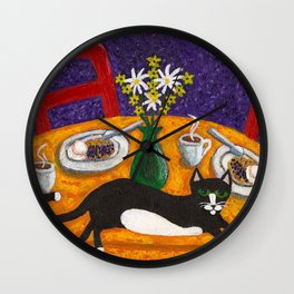 Tuxedo Cat and Coffee on a Colorful Table Wall Clock