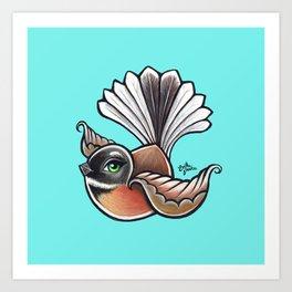 Fantail - Aqua Art Print