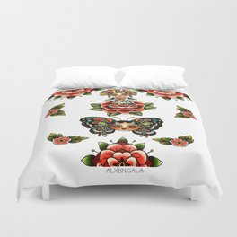Mexican Dolls Flash, rose doll and butterfly only. Duvet Cover