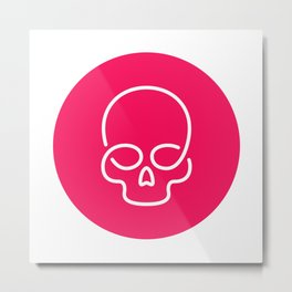 Red dot skull Metal Print